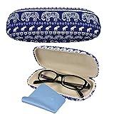 SwirlColor Funda de Gafas Mujer Bohemia Estampado de elefante Gafas con un paño de limpieza azul (Estuche de gafas azul)