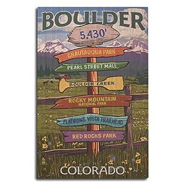 Boulder, Colorado - Signpost Destinations (10x15 Wood Wall Sign, Wall Decor Ready to Hang)