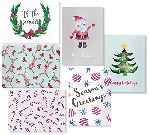 Holiday Greeting Cards, 6 Christmas Designs with Envelopes (4 x 6 In, 48 Pack)
