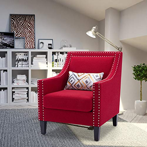 Goujxcy Accent Armrest Chair Nail Head Fabric Upholstered Club Chair with Pillow, Mid-Century Armchair for Living Room (Red)