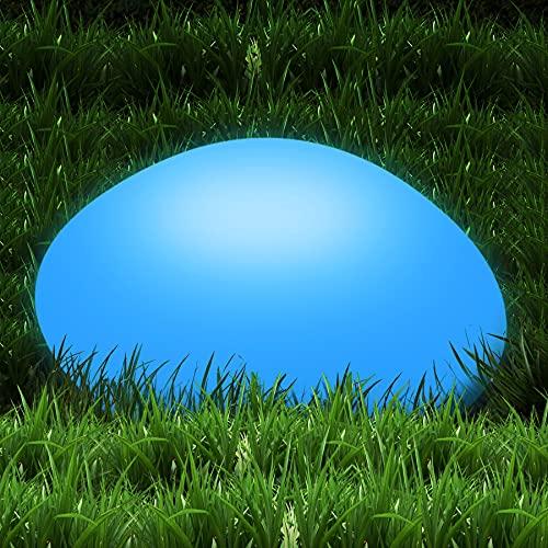 Wilktop Pierre de décoration solaire pour l'extérieur, étanche IP65, lampe solaire LED en forme de galets avec 16 couleurs réglables, lampe solaire pour jardin, cour, piscine