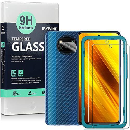 Ibywind Panzerglas Schutzfolie für das Poco X3 NFC [2 Stück] mit Kamera Schutzfolie, Carbon Fiber Skin für die Rückseite, Inklusive Easy Install Kit (Zentrierrahmen)