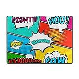 Orediy Weiche Teppiche Comic Pop Art Muster Leichter Bereich Teppich Kinder Spielmatte Rutschfest Yoga Kinderzimmer Teppich für Wohnzimmer Schlafzimmer, Schaumstoff, Multi, 204 x 148 cm