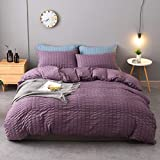 M&Meagle 3 Pieces Purple Duvet Cover Textured Set with Zipper Closure,100% Washed Microfiber Seersucker Fabric,Luxury Hotel Quality Bedding-Queen Size(1 Duvet Cover 2 Pillowcases)
