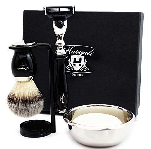 Haryali London Kit de afeitado para hombre, 5 unidades, 3 filos, con cepillo de afeitar de pelo de tejón sintético, soporte, jabón y tazón perfecto para hombres