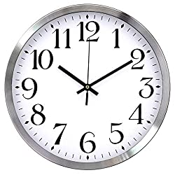 TopOne Silent Wall Clock,Battery Operated 12 inch Accurate Sweep Movement Silver Aluminum Quartz Kitchen/Home/School Patio Decor(White)