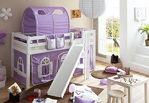 Spielbett mit Podest und Rutsche Tino, Buche weiß, 90 x 200 cm, lila-weiß