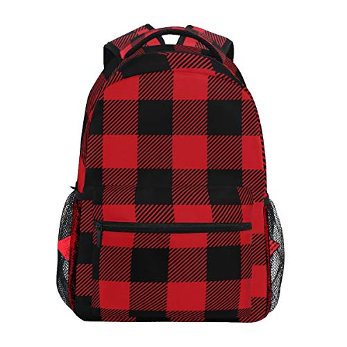 Rot und Schwarz karierter Schulrucksack Große Kapazität Schultasche Canvas Casual Travel Daypack Perfekt für Damen Herren Mädchen Jungen