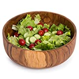 MyGift 9-inch Handcrafted Indonesian Round Teak Wood Salad Serving Bowl