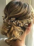Handcess Diadema de novia para boda con perlas doradas, accesorios para el pelo para mujeres y niñas