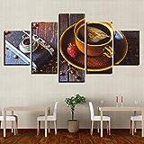 BAIOKAISHUII Cuadros de Lienzo decoración del hogar Impresos 5 Piezas Granos de café Tazas de café Pinturas Comida Postre Cartel Cocina café Arte de Pared Modular-Sin Marco