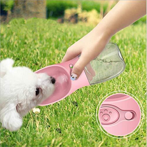 Eyxia-Pet-Master Rosa Haustier Katze und Hund 350 ml Begleitbecher aus dem Wasserbecher im Freien tragbare Reiseflasche Wasserschüssel Trinkbrunnen Hund Katze Wasserkocher Tasse tragbare Reiseflasche