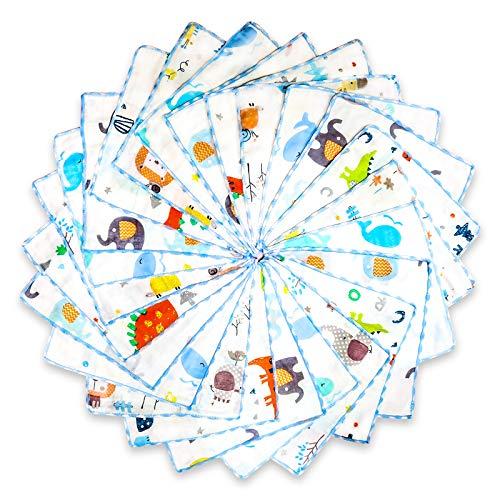 Paños de muselina para bebé 24 unidades, Muselina de algodón natural toallas faciales recién nacido, Toallas infantiles para fiestas y regalo, 22 x22cm