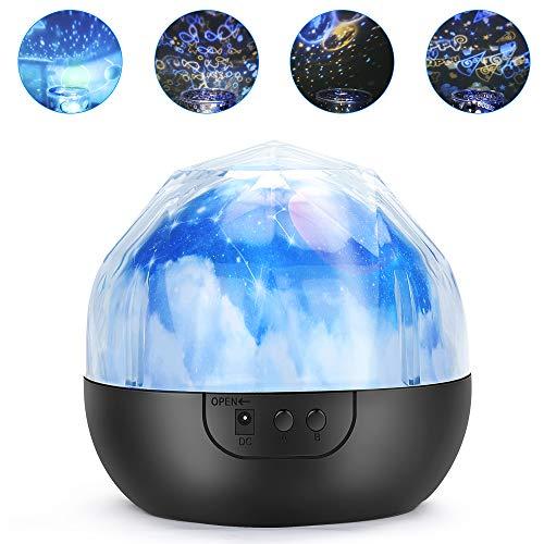 yidenguk Projektionslampe für Kinder, Nachtlicht, Baby, Stern, Nachttischlampe, 360 ° drehbar, romantisch, mit 5 bunten Lichtern und 3 Helligkeitsstufen verstellbar
