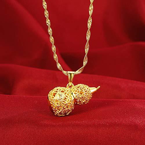 LEIYU Colgante chapado en oro con filigrana de calabaza hueca para hombre y mujer