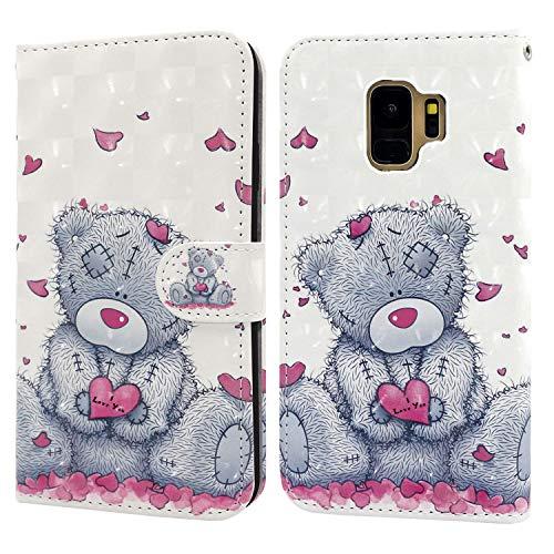 Ailisi Samsung Galaxy S9 Hülle Teddy Bear 3D Muster Handyhülle Schutzhülle PU Leder Wallet Case Flip Case Klapphüllen Brieftasche Ledertasche Tasche Etui im Bookstyle