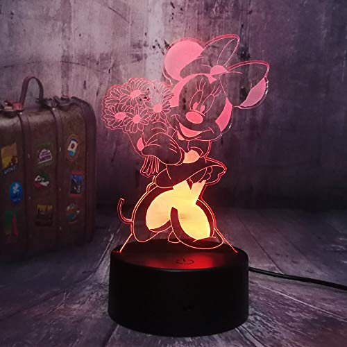shiyueNB Kawaii Minnie Mouse Figurine de Dessins animés 7 Couleurs 3D LED Lumière de Nuit Lampe de Bureau pour Dormir Minnie Party Decor Baby Enfants Cadeau d'anniversaire