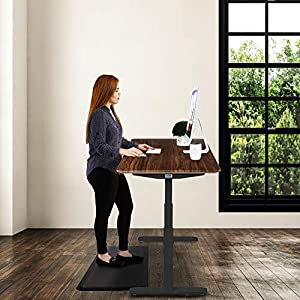 """Seville Classics OFFK65826 Airlift S3 Electric Standing Desk Frame/w 54"""" 4 Memory Buttons LED Display (Max. Height 51.4"""") 3-Section Base, Dual Motors, Black with Walnut Top"""
