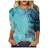 Mimacoo Landscape Painting Pattern Top for Womens Three Quarter Sleeve Pullover Round Neck Tee Blue