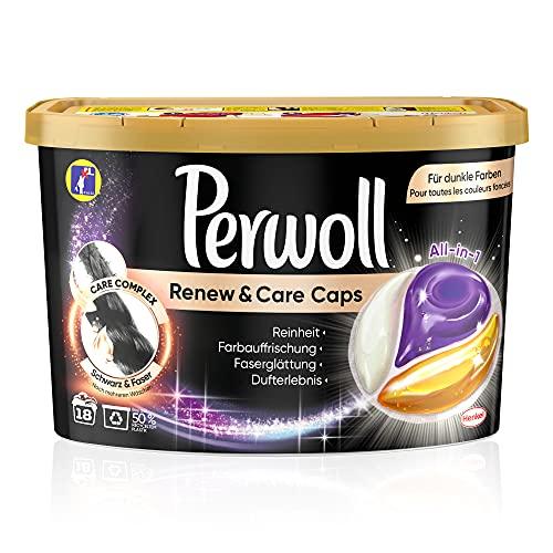 Perwoll Renew & Care Caps Schwarz & Faser Waschmittel (18 Wäschen), sanft reinigende All-in-1 Waschmittel Caps zur Farbauffrischung und Faserglättung bei schwarzer & dunkler Wäsche