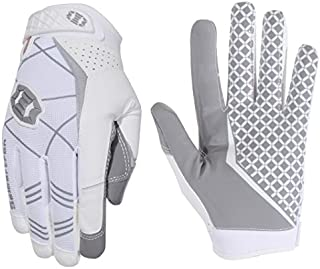 Seibertron Pro 3.0 Elite Ultra-Stick Sports Receiver Glove Football Gloves Youth and Adult (White, L)