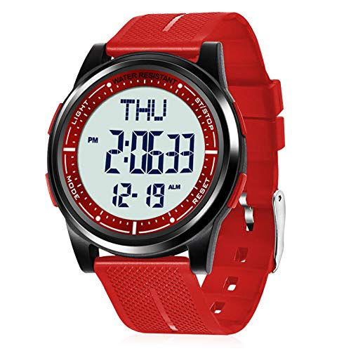 Beeasy Mens Digital Watch Waterproof with Alarm Stopwatch Countdown Timer Dual Time, 12/24 Hours Thin Digital Wrist Watches for Men Women, Red