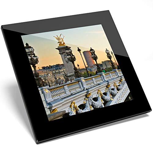 1 posavasos de cristal con diseño de Puente Alejandro III de París,...