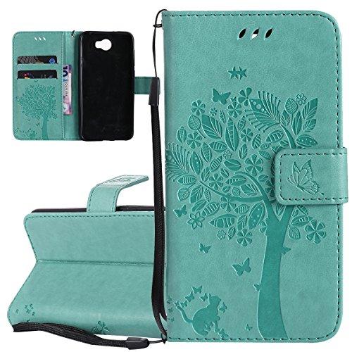 ISAKEN Compatibile con Huawei Y5 II Custodia, Libro Flip Cover Portafoglio Wallet Case Albero Design Tinta Unita Caso in Pelle PU Protezione Caso con Supporto di Stand/Carte Slot/Chiusura - Verde