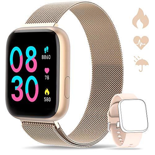 WWDOLL Smartwatch, Reloj Inteligente IP67 con Monitor Rítmo Cardíaco Sueño Podómetro Notificaciones, Reloj Deportivo 1.4 Inch Pantalla Táctil Completa Hombre Mujer para iOS y Android (Dorado)
