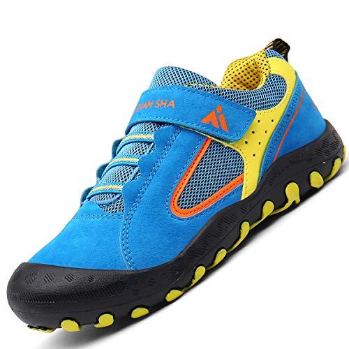 Mishansha Kinder Schuhe für Draußen Jungen Freizeitschuhe Atmungsaktivität Schweiß Absorbierend Flach Tennisschuhe Mädchen Patchwork Hallenschuhe Joggingschuhe Frühjahr Herbst Sport Shoes, Blau 34