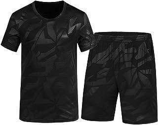 Hombre 2 Piezas Manga Corto Algodón Camiseta Secado Rapido +Pantalones Cortos