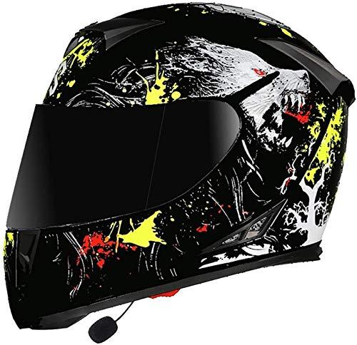 Bluetooth Casco Moto Integral ECE Homologado, Casco De Motocicleta Con Doble Visera Auriculares Bluetooth Para Adultos Hombres Mujeres,Cuatro Estacioneshelmet 7,XL(61~62cm)