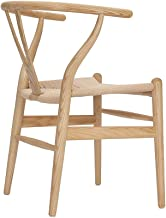 Tomile Wishbone Solid Dining Chairs Rattan Armchair Hans Wegner (Ash-Natural Wood Color),