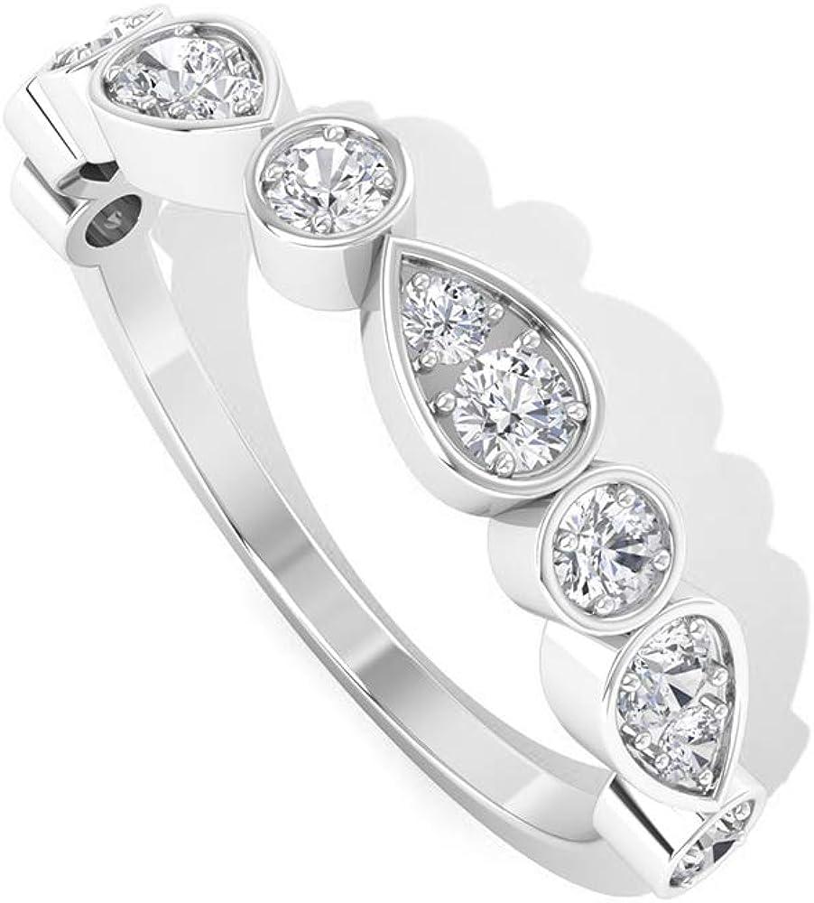 0.27 Diamond SGL Certified Half Eternity Ring, Art Deco Flower Petal Bridal Wedding Ring, HI-SI Color Clarity Diamond Promise Ring, Engagement Ring, 14K Gold