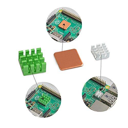 Aukru DC 5V 0.2A Lüfter Bürstenlos Mini Fan Kühler Kühlkörper Heatsinks für Raspberry Pi 3 Modell B/Raspberry Pi 2 Modell B
