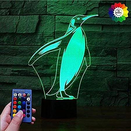 Kreative 3D Pinguin Nacht Licht 16 Farben Andern Sich Fernbedienung USB Adapter Touch Schalter Dekor Lampe Optische T/äuschung Lampe LED Lampe Tisch Kinder Brithday Weihnachten Geschenke