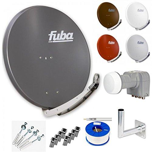 Fuba Digital HDTV Sat-Anlage 4 Teilnehmer | Fuba DAA 850 Premium Aluminium Sat-Antenne in Wunschfarbe + DEK 416 Quad LNB + Fuba DAZ Winkelwandhalter + 100m Fuba KKE 740 Koaxialkabel