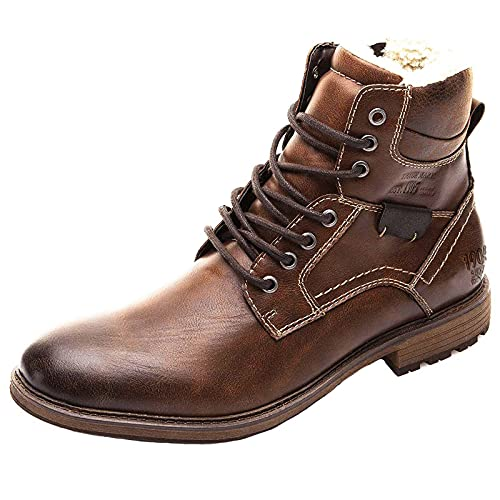 Men's Ankle Boots Fleece Lined Winter Booties Retro Leather Stylish Chunky Low Heel Lace Up Combat Boots with Side Zipper