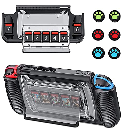 Protective Case for Nintendo Switch Games, Switch Case with 7 Game Cards Storage Slots, 360° Full Protection switch accessories with Ergonomic Design and Adjustable Kickstand,6 Thumb Grip Caps