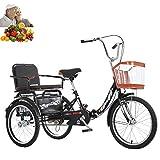 Tricycle Adulto 20 Pulgadas Plegable Bicicleta de 3 Ruedas con Asiento Trasero +...