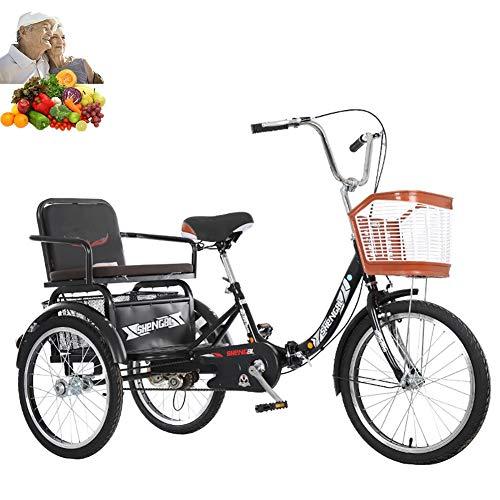 Tricycle Adulto 20 Pulgadas Plegable Bicicleta de 3 Ruedas con Asiento Trasero + Cesta Mono Cadena de Edad de la Movilidad de Ancianos Triciclo para los Padres Capacidad de Carga de Regalo 200kg