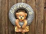 Welcome Hund Dekostein Polyethylen Garten Deko Leuchten Hund, zB. zum Aufhängen