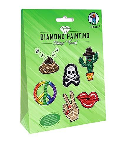URSUS 43500003 Diamond Painting Funny, zum Gestalten von Stickern mit funkelnden Diamanten, 2 Stickerbögen 15 x 10 cm, mit verschiedenen Designs, Diamantensteine, Picker, Wachs und Schale, bunt
