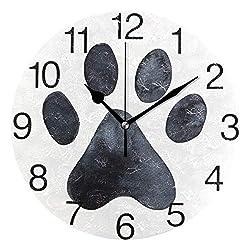 senya Black Dog Paw Print Design Round Wall Clock, Silent Non Ticking Oil Painting Decorative for Home Office School Clock Art