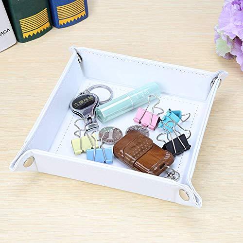 Kingfom Schmucktablett für den Schreibtisch, PU-Leder, für Schlüssel/Handy, Münzen, Uhren und Süßigkeitenhalter weiß
