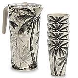 Space Home - Set de Jarra de Agua y Vasos de Bambú - Jarra con Tapa + 4 Vasos - Recipiente para Líquidos - Respetuoso con el Medio Ambiente - Biodegradable - Diseño Tropical - Bambú - Diseño 1