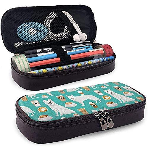 PU lederen etui met ritssluiting, Duitse herder Koffie Capaciteit Opslag Marker Case Pen Houder, Make-up Bag