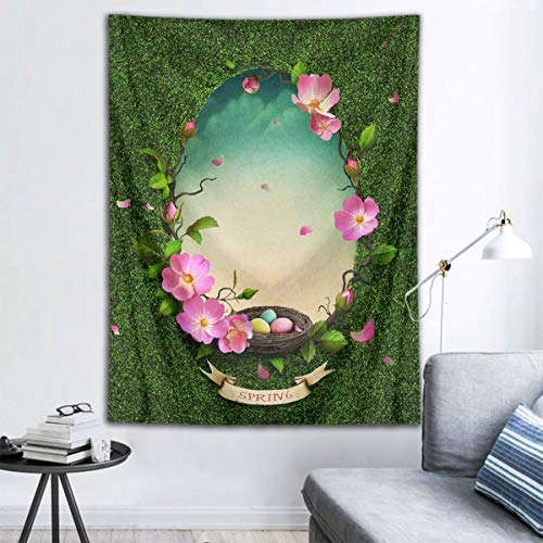 Binrose Spring Tapestry Wall Hanging Easter Eggs Shaped Garland Wall Tapestry Flowers and Leaves Scenery Tapestry Easter Backdrop for Bedroom Living Room Dorm Party Decor, 80x60inches
