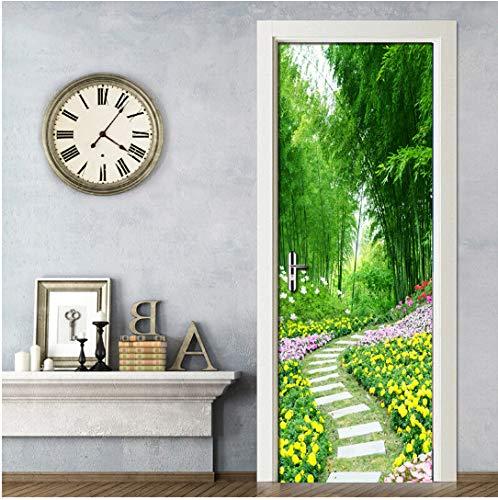 Door stickers door decals, Door Stickers Bamboo Forest Flower Grass Road Vinyl Wall Decal Door Mural Art Bedroom Door Waterproof Sticker Home Decor 3D