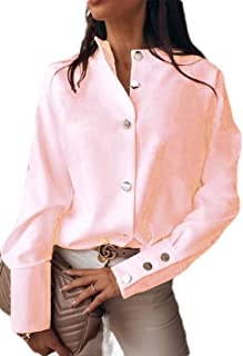 Abeaicoc Women's Tops Long Sleeve Solid Color Button Up Shirts Blouse